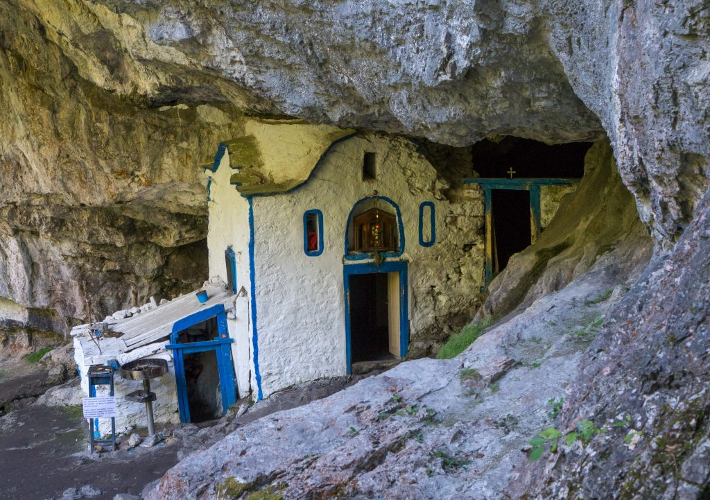 Saint Dionisios holy cave on Mount Olympus