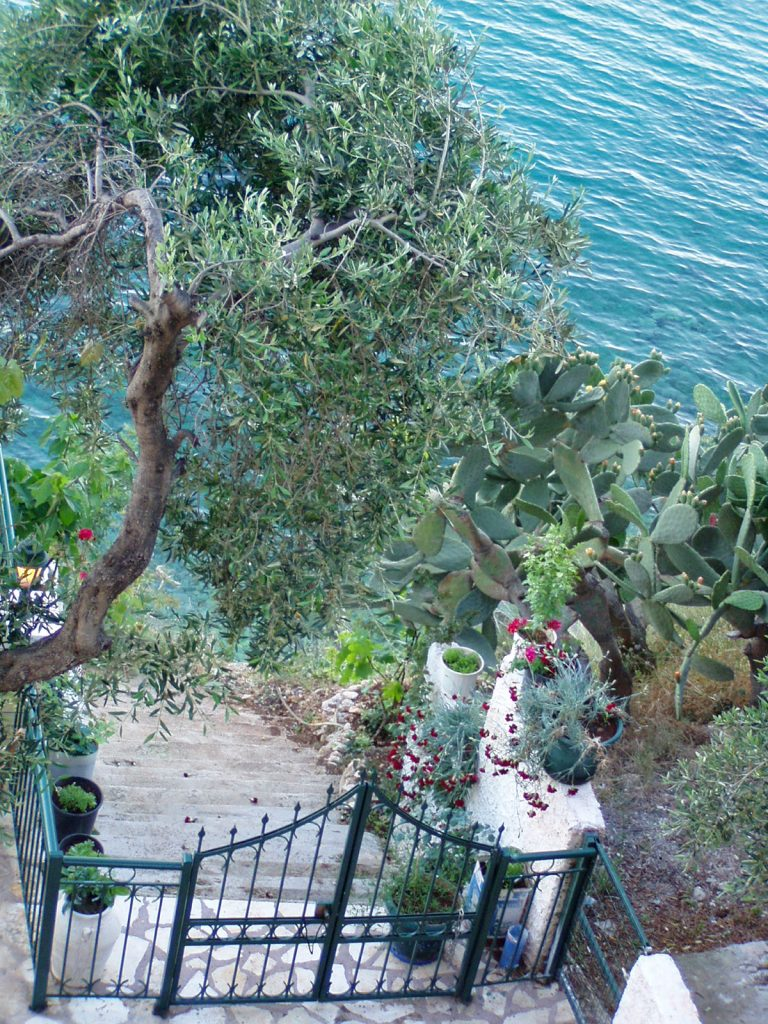 Narrow path to the sea in Barbati, Corfu