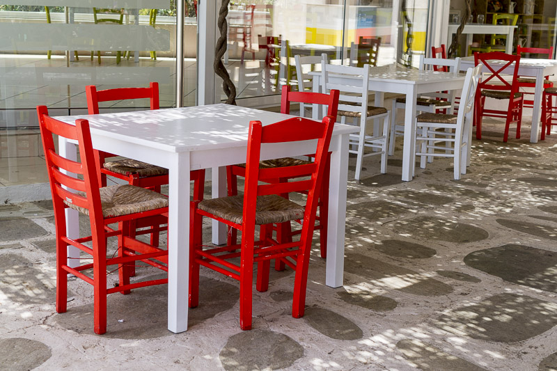 red white tables and chairs