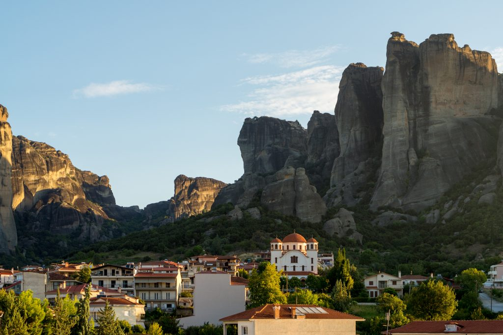 Kalabaka by sunrise with view to Meteora