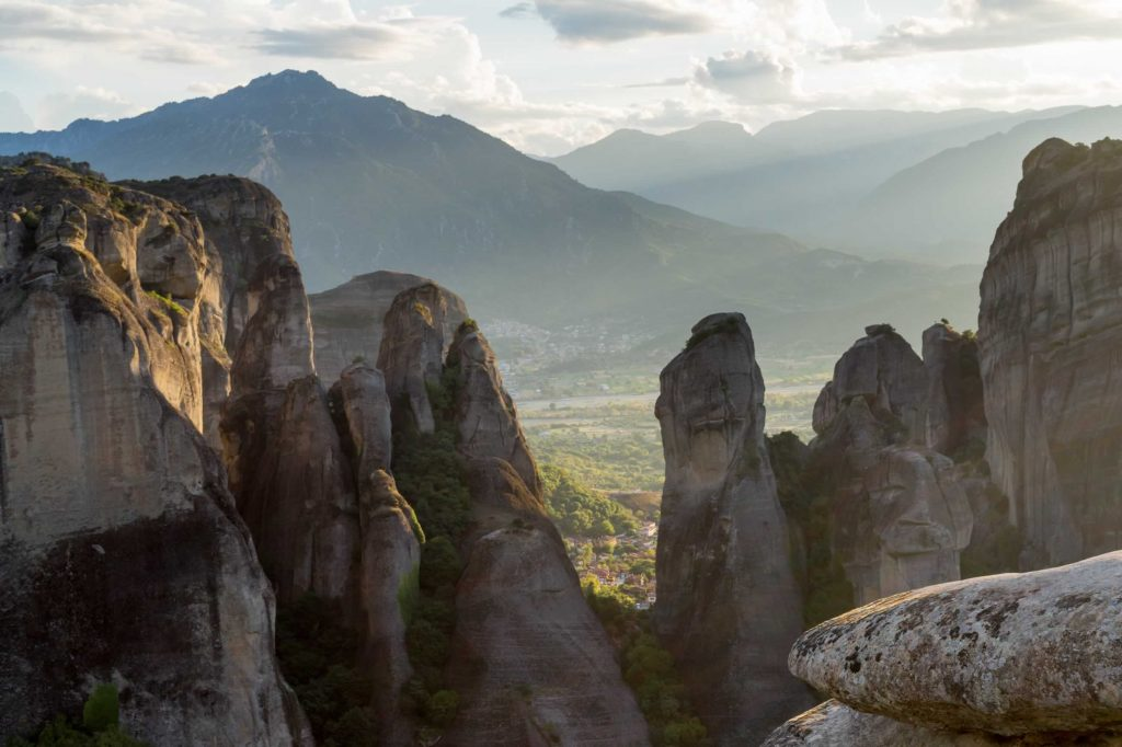 Meteora rocks in sunset