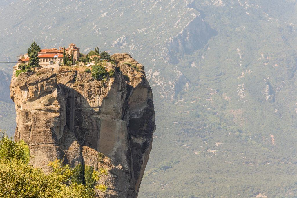 Meteora monasteries on cliffs