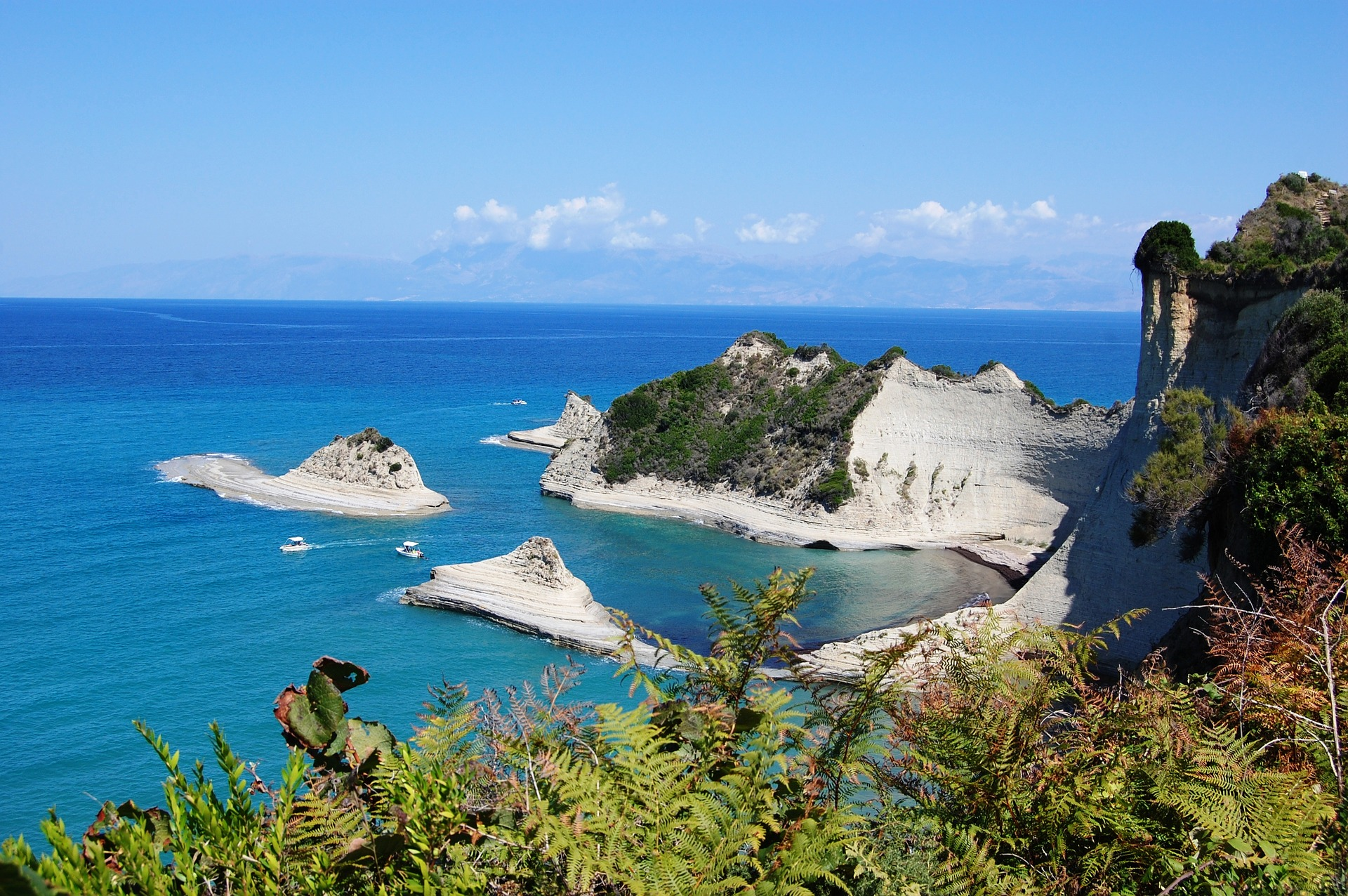 corfu cliffs blue sea