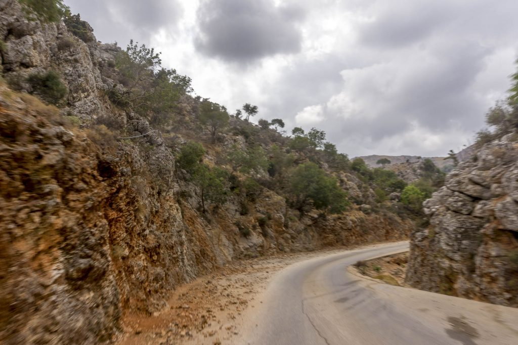 Mountain road in Crete, from Chania Town to Lake Kournas