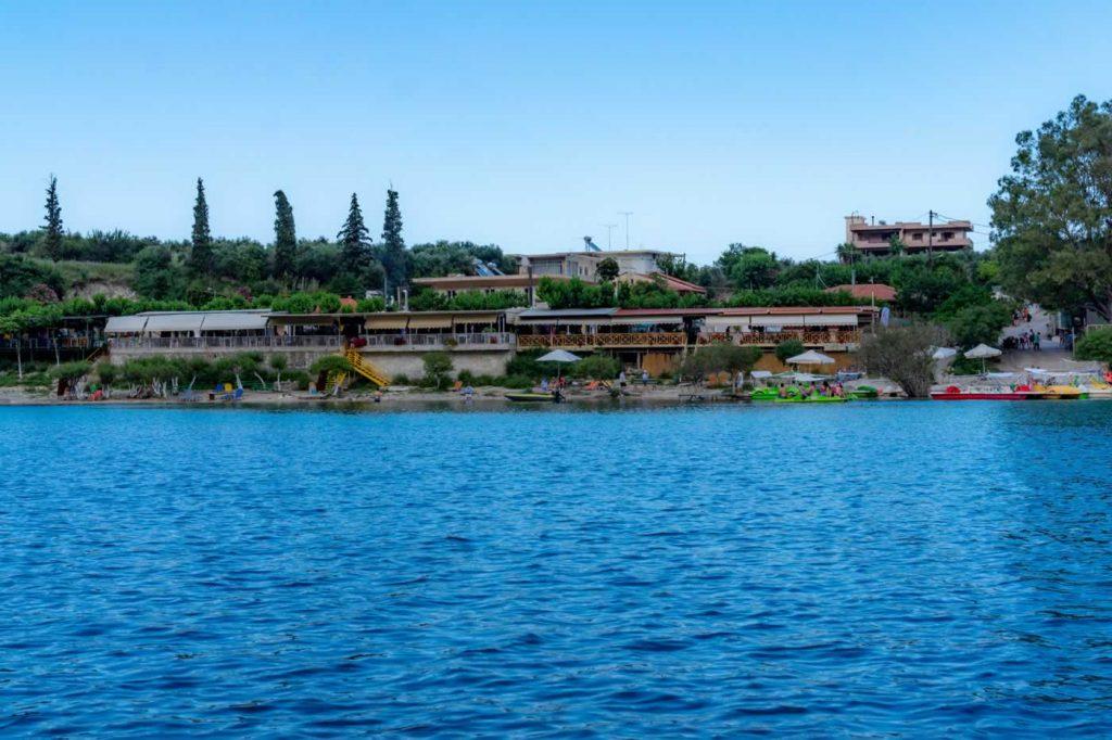 Kournas Lake tavernas Seen From The Pedalo Boat