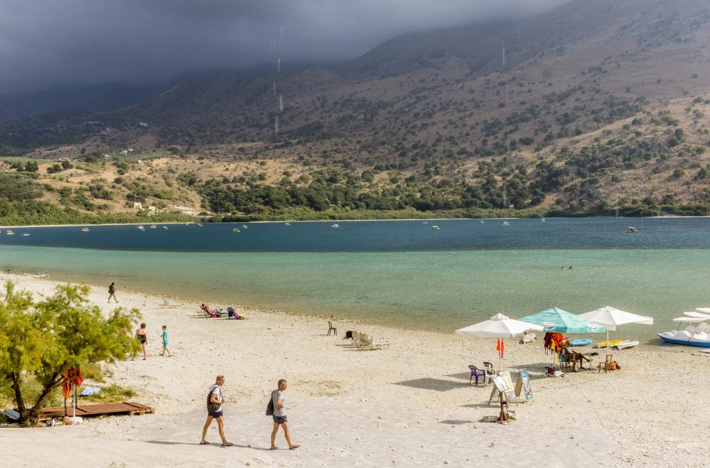 Lake Kournas is close to Chania and Rethymno, and it is a perfect spot to swim, watch the turtles and eat traditional Cretan food