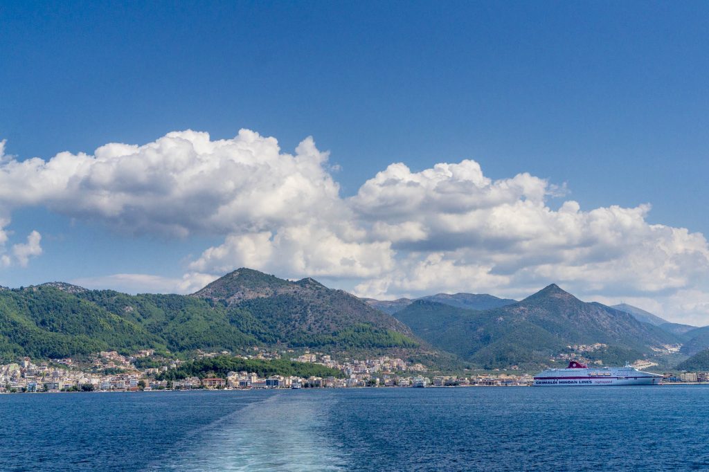 Ihoumenitsa seen from the ferry to Corfu island