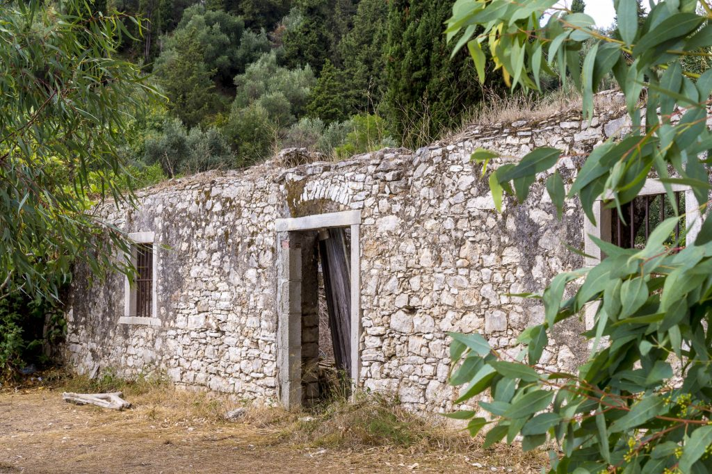 Building in ruins on Corfu beaches