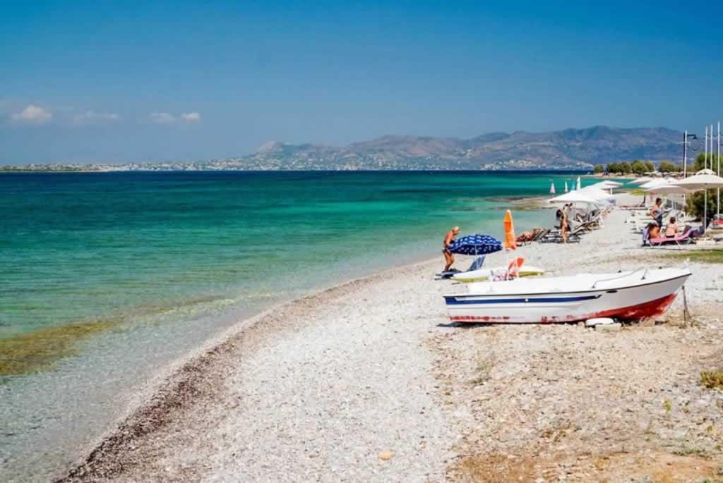 agistri island beach boat