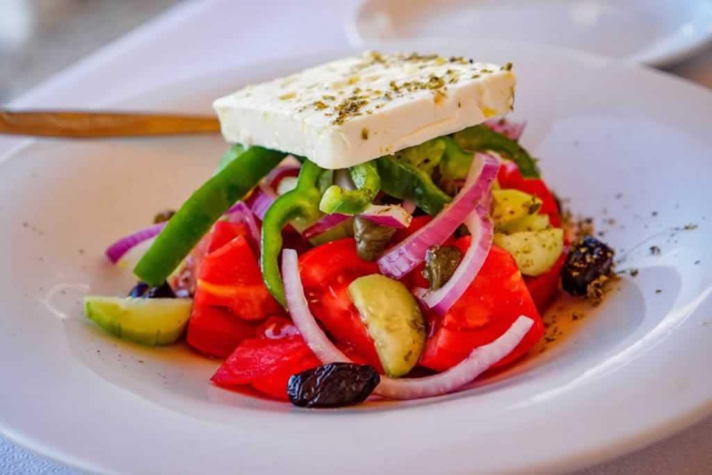 Greek salad at Yialos Taverna on Agistri Island