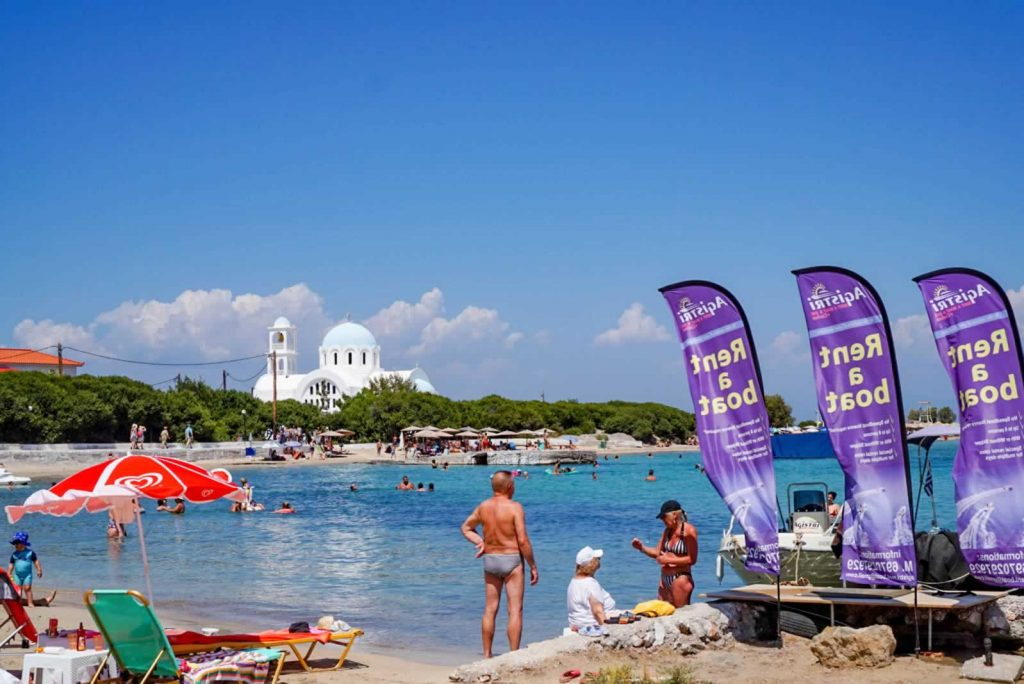 On Skala Beach you can rent a boat