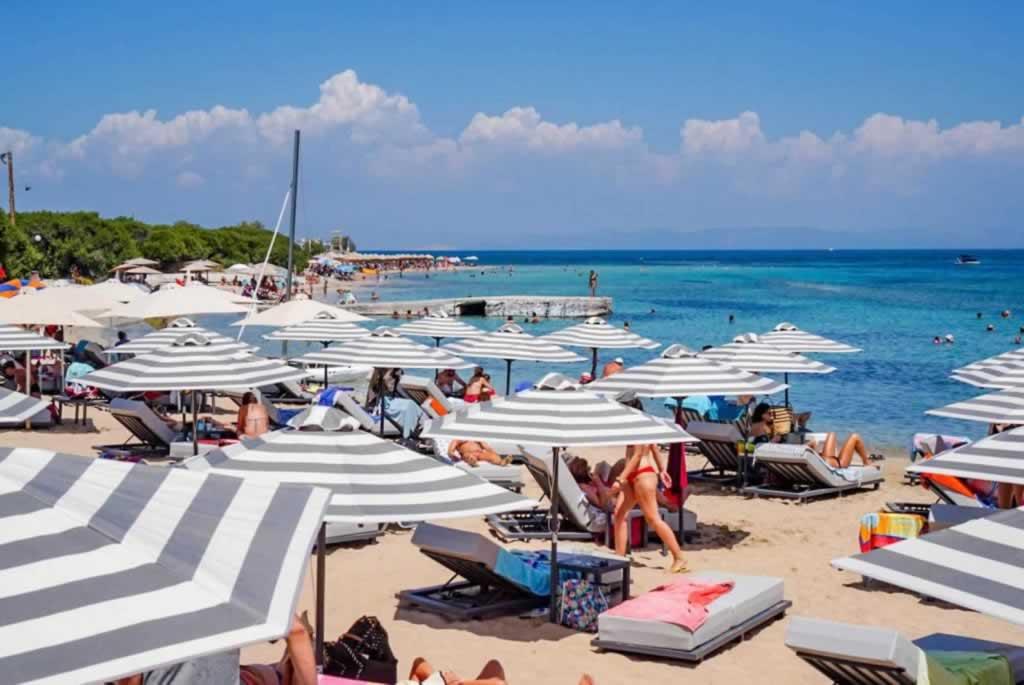 Skala Beach Agistri Sunbeds and Umbrellas