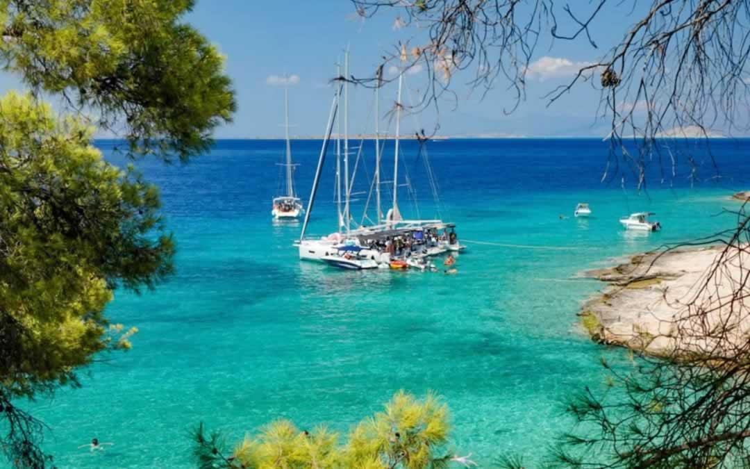 Moni Island & a Beach in Greece with Wild Peacocks