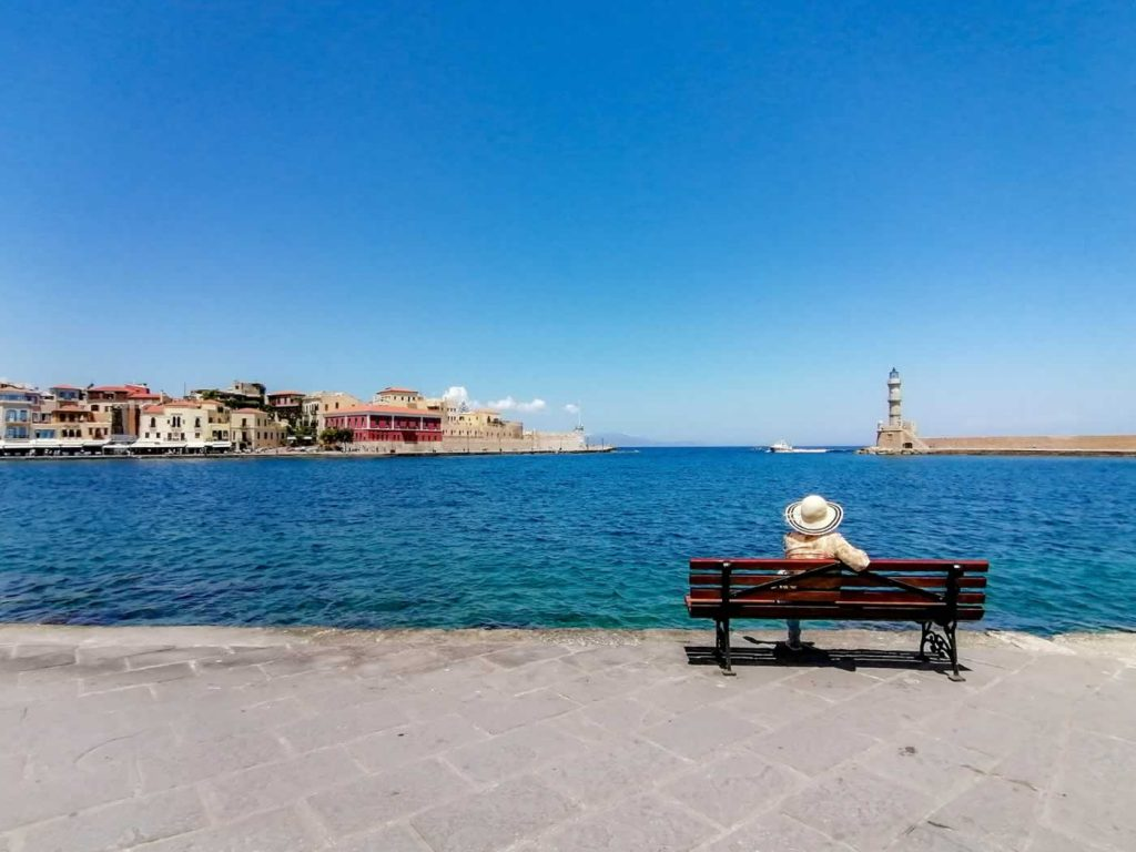chania lighthouse bench