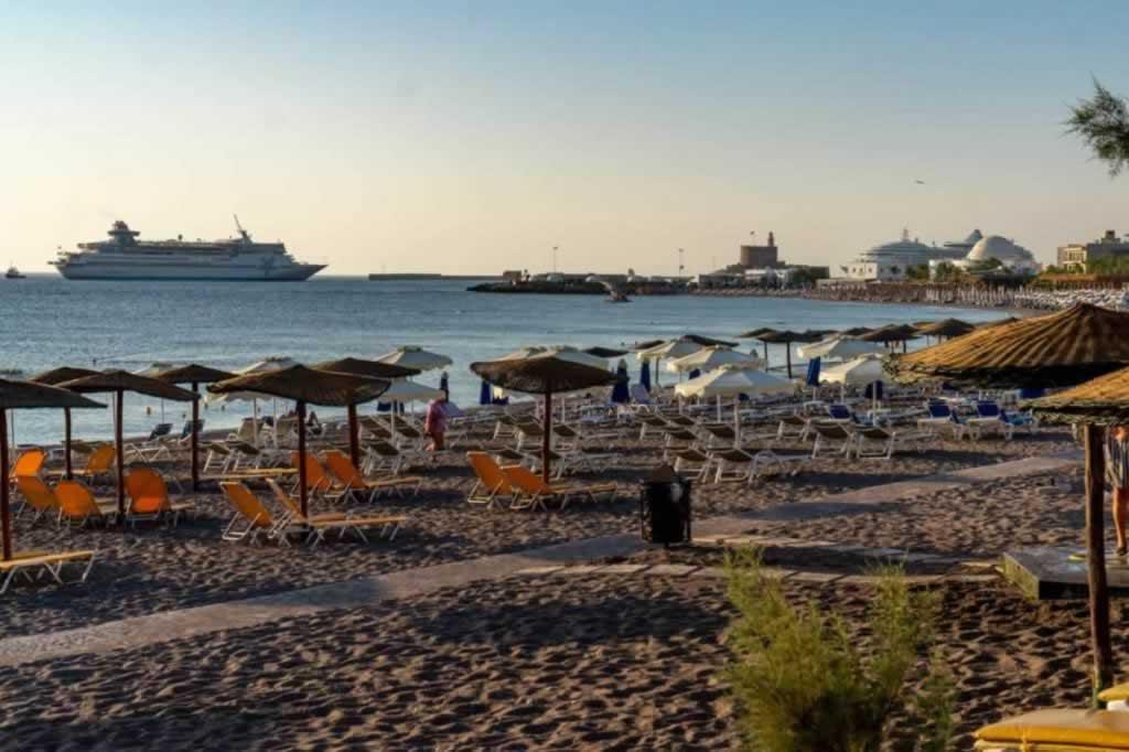 Elli beach with Cruise Ship at Sunrise