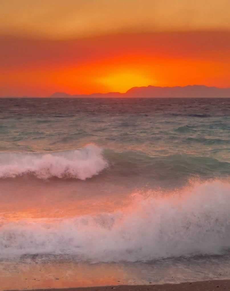 rhodes town beach sunset