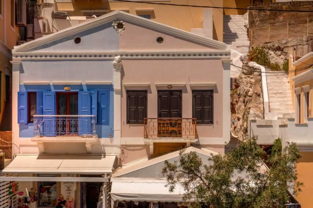 symi house blue yellow